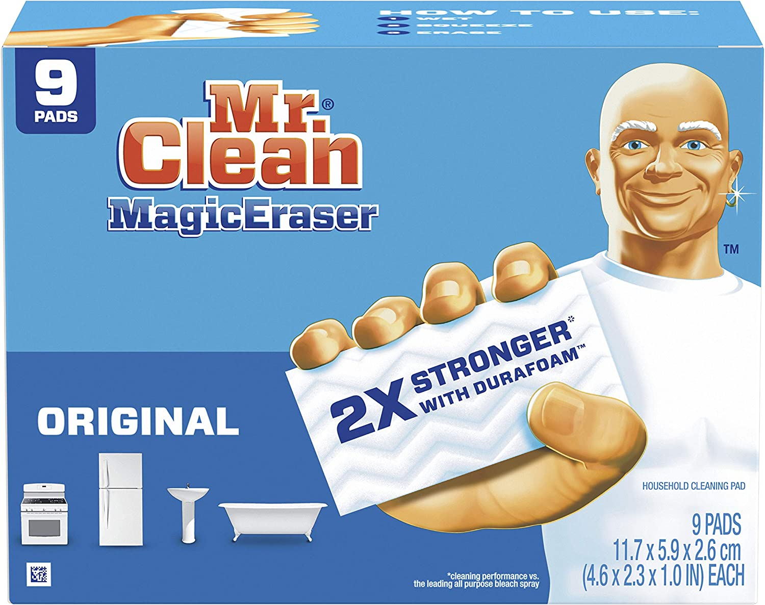 Mr. Clean Magic Eraser Original, Bathroom, Shower, and Oven Cleaner, Cleaning Pads with Durafoam, 9 Count : Health & Household