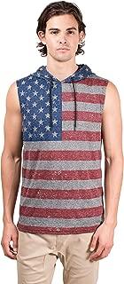 Brooklyn Surf Men's American Flag Sleeveless Hoodie Tank Top Stars N Stripes Shirt