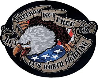 "Lethal Threat LT30094 `FREEDOM` Eagle Embroidered Patch (Large/9.25"" x 12"")"