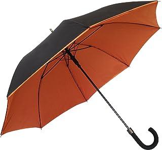 SMATI Parapluie Canne - Design - Double Toile - Chic - Très Solide - Anti Vent - Baleinage en Fibre - Couleur (Orange)