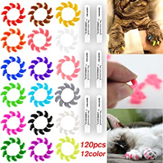 Smarthing 120Pcs(12Color) Cat Claw Caps Soft Rubber&Crystal Pet Paws Nail Grooming Cover + 6 Pcs Adhesive Glue