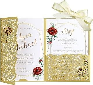 Best silk pocket fold invitations Reviews