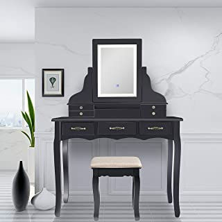 Best black vanity table no mirror Reviews