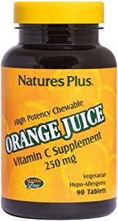 NaturesPlus Orange Juice Chewable Vitamin C - 250 mg, 90 Vegetarian Tablets - High Potency Immune Support Supplement, Anti...
