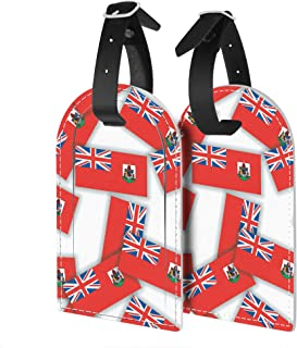 2x PU Leather Luggage Tags Travel ID Identifier Labels for Suitcase Bag - Pattern collage of flags of Bermuda