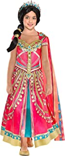 Aladdin Pink Jasmine Costume for Children, Includes a Fancy Pink Dress with a Matching Shawl