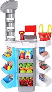 KARMAS PRODUCT Supermarket Play Set,36 Piece Grocery Store Toy with Cash Register and Ample Shelving for Kids