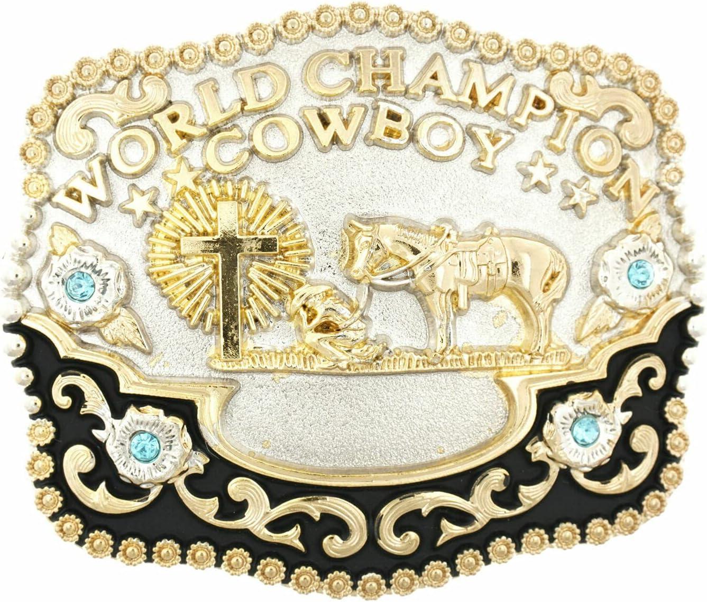 World Champion Cowboy Praying Cross w Horse Max Sales 72% OFF Metal Belt Buckle