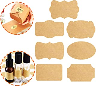 "315PCS Brown Kraft Labels Stickers Name Tags 7 Designs Blank Paper 2.5 x 1.5"" Self-Adhesive for DIY Holiday Present Decoration Bottle Jars Gift 15 Sheets Labels for Inkjet Printer Hand Craft"