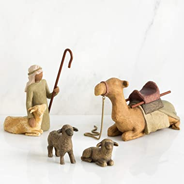 Willow Tree Shepherd and Stable Animals, Sculpted Hand-Painted Nativity Figures, 4-Piece Set
