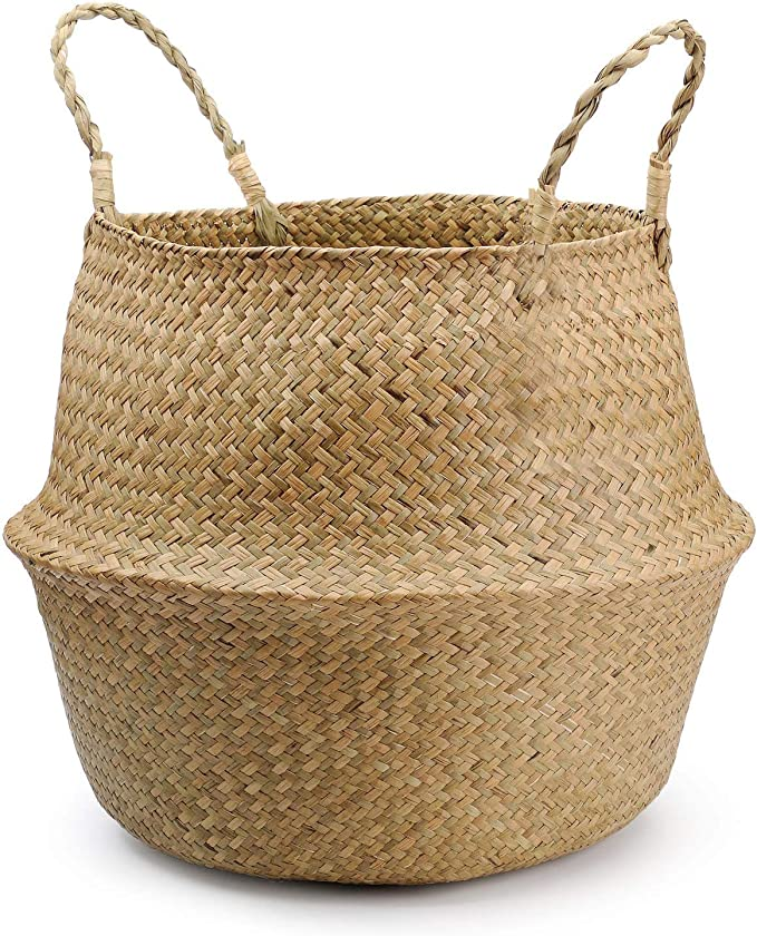 """YYHJM Natural Seagrass Belly Basket with Handles Kitchen Bedroom Living Room Baby Nursery Room Hand-made Storage Organizer (12.6""""x 11"""")"""
