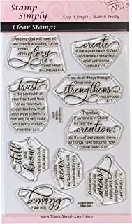 Stamp Simply Clear Stamps Words of Encouragement Christian Religious 4x6 Inch Sheet - 9 Pieces