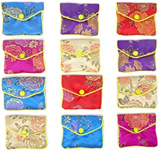 HONBAY 12PCS Jewelry Silk Purse Pouch Brocade Embroidered Bags Gift Bags, Assorted Colors