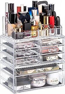 DreamGenius آرایش ساز 3 قطعه لوازم آرایشی و بهداشتی لوازم آرایشی اکریلیک و جعبه نمایش جعبه شفاف