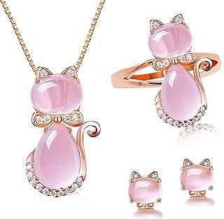 Uloveido Girl's Cute Cat Animal Jewelry Set Created Pink Opal Cat's Eye Stud Earrings Necklace Ring Y427