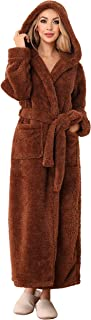 ANRABESS Women's Plush Fleece Robe with Hood, Long Warm Solid Bathrobe with Pockets
