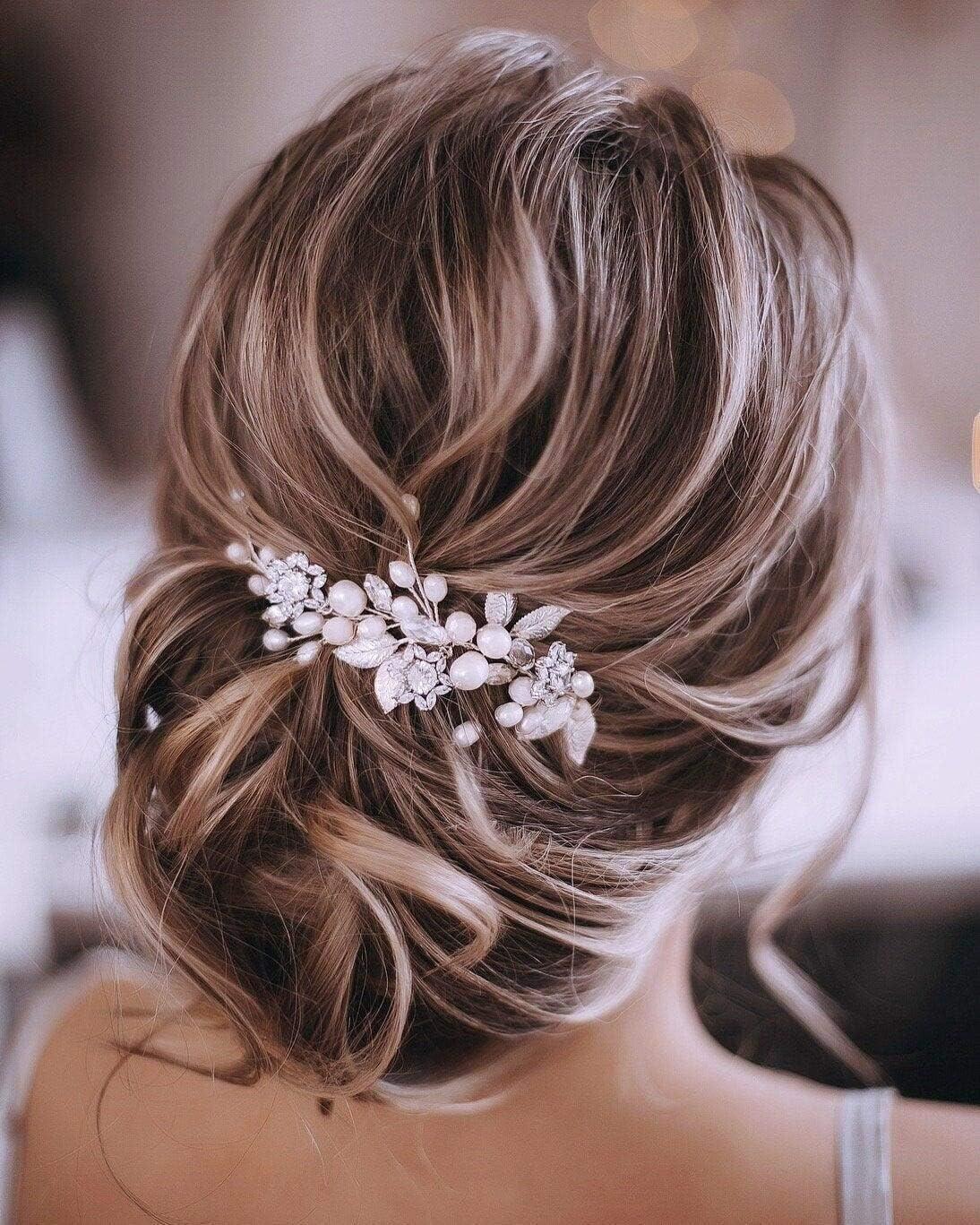 Unicra Silver Wedding Crystal Hair Vines Flor Hoja Tocados Accesorios para el cabello para la novia (Plata)