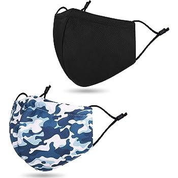 Unisex Reusable Washable Adjustable Cloth Face Washable Madks 2 Pcs Black/Camo Blue