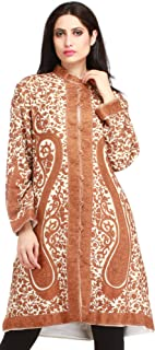 Exotic India Ivory and Brown Kashmiri Long Jacket with All-Over Hand - Off-White