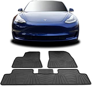 T1A TruBuilt 1 Automotive #1 Tesla Model 3 Floor Mats - All Weather Fits 2017-2019 (Full Set Front & Rear) Accessories - Heavy Duty & Flexible Eco-Friendly All Season Latex Material by HEA