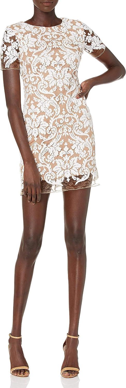 Dress the Population Women's Megan Short Sleeve Sequin Lace Mini Sheath Dress, White/Nude, L