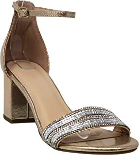 Shoes Women's Open Toe Single Band Buckle Ankle Strap Chunky Low Mid Block Heel Sandal, Cake