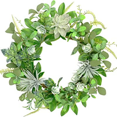Bibelot 20 Inch Succulent Wreaths Fern Leaves Greenery Wreath Artificial Succulent Summer for Front Door for Home Wall Window Decoration
