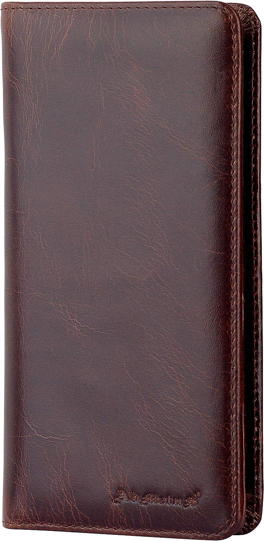 Mens RFID Blocking Wallet Vintage Genuine Leather Long Wallets Credit Card Holder