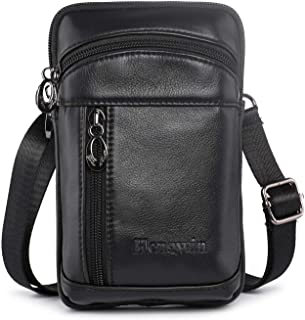 Hengwin Leather Crossbody Shoulder Bags Men Belt Clip Phone Holsters Case Belt Loop Pouch Waist Bag Pack for iPhone Xs Max...
