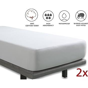 Tural – Protector de colchón Anti Bacterias. Impermeable y Transpirable. Rizo 100% Algodón. Pack 2 uds. Talla 90x200cm: Amazon.es: Hogar