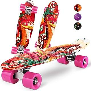 comprar comparacion Gonex Monopatín Skateboards Patinete Retro Crucero Completo para Niños Jóvenes Adultos, Skates Penny Board Patín (22 Pulga...
