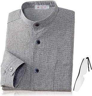 亀田縞織 スタンドカラーシャツ メンズ NT-0005 日本製 mij(エムアイジェイ) 正規品 しおり型ルーペ付き