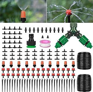 نظام الري للحدائق، مجموعة معدات الري الأوتوماتيكية من 149 قطعة، نظام سقي النباتات مع قطارة قابلة للتعديل وخرطوم أنابيب 1.4...