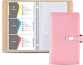 Business Card Holder Book, AHGXG Business Card Book Case PU Leather with Magnets Organization Binder Name ID Card Holder for Men & Women, Up to 200-300 Cards Capacity (150 Cells), Pink Color