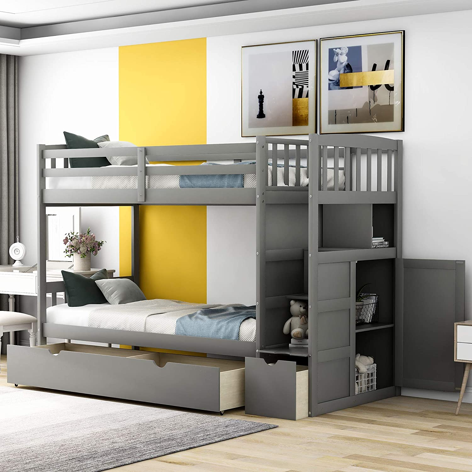 Buy Twin Over Full Bunk Bed Twin Bunk Beds For Kids Bed Frame With Convertible Bottom Bed Storage Shelves And Drawers Gray Online In Turkey B08blbtyvx