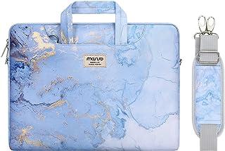 MOSISO Funda Protectora Compatible con 2019 MacBook Pro 16 A2141/15-15.6 MacBook Pro/Surface Acer ASUS de Portátil, Bolsa de Hombro Patrón Maletín Bandolera con Cinturón de Carro, Mármol Azul Agua