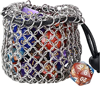 YOUSHARES Drawstring Game Dice Bag - Stainless Steel Chainmail DND Dice Pouch for Metal Polyhedral D&D Dice Set, Coin