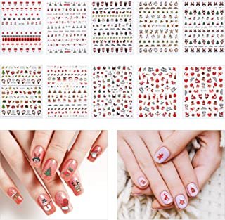 10 Sheets Christmas Nail Stickers 3D Nail Art Decoration Self-Adhesive Christmas-Themed Tip Stickers for Women Favors