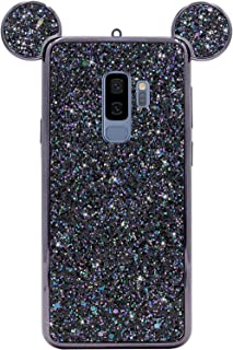 Rhinestone Mouse Ears Cover by Tech Express for Samsung Galaxy S9 or S9+ Chrome Bumper Bling [Flexible TPU Case] Sparkle Glitter Diamond Shimmering Cartoon Character Case (Black, S9+ Plus)