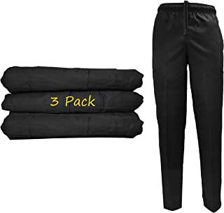 Natural Uniforms Classic 6 Pocket Black Chef Pants with Multi-Pack Quantities Available