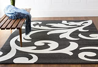 Super Area Rugs Gray & Ivory Rug Contemporary Floral Design 5-Feet x 8-Feet Soft Damask Carpet