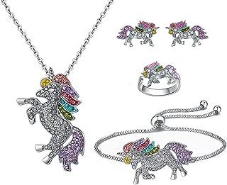 SHWIN Unicorn Necklace - 2 or 4 Pack Rainbow Unicorn Necklace Bracelet Set for Girls Jewelry Unicorn Gifts Set