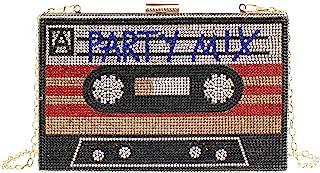 MEGAUK Damen Clutch Glitzer Audiokassetten Optik Abendtasche Glänzend Handtasche mit Kette für Club Rock/Party Mix