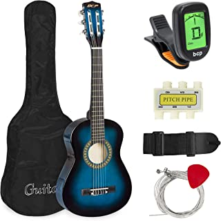 Best Choice Products 30in Kids Classical Acoustic Guitar Complete Beginners Set, Musical Instrument Kit w/Carry Bag, Picks, E-Tuner, Strap - Blue