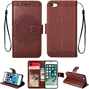HCUI Leather Case for iPhone SE iPhone 5s  Ultra Slim with Magnetic Closure  Retro Vintage  Leather Wallet Stand Flip Case for iPhone SE iPhone Brown