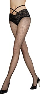 Women's Luxurious Black FISHNET TIGHTS with Lace Panty and Criss-Cross Details | Gatta DIONE 01 [Made in Europe]