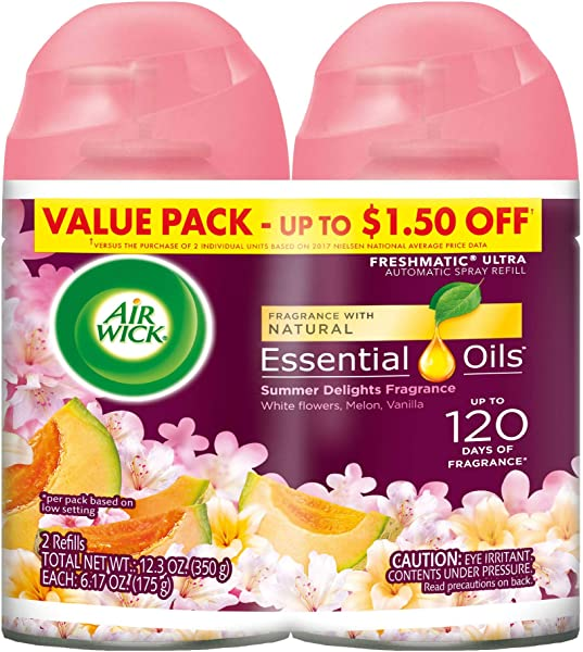 Air Wick Pure Freshmatic 2 Refills Automatic Spray Summer Delights 2ct Air Freshener Essential Oil Odor Neutralization Packaging May Vary