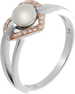 Orphelia Women's Ring Design Round Pearl With Ring Size