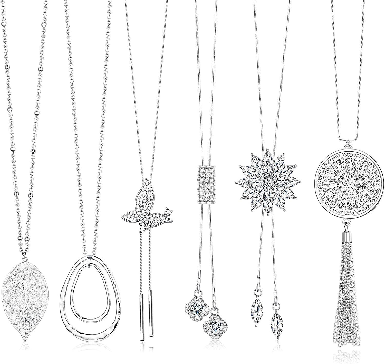 CASSIECA 6 Pcs Long Pendant Necklace for Women Girls Long Sweater Necklace Set Chain Rhinestone Flower Tassel Statement Pendant Neckace Jewelry Women Gifts
