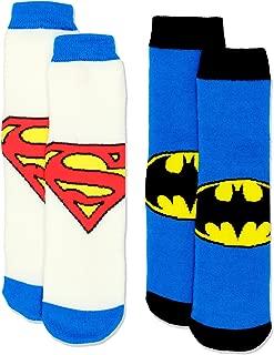 Boy's Teen 2 Pack Superhero Slipper Socks with Grippers (Toddler/Big Kid/Adult)